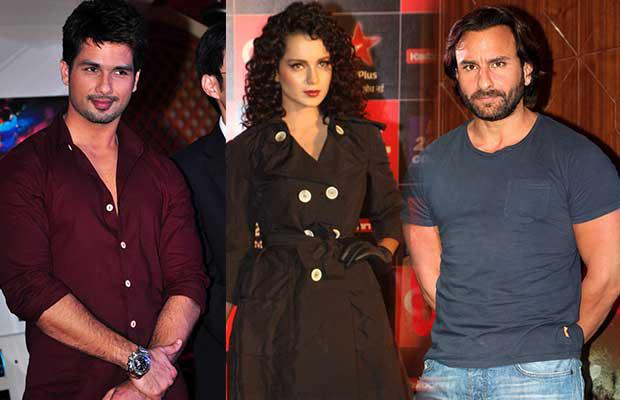 Rangoon, a period piece, casts Kangana Ranaut as an action star of the 1940s named Julia. Shahid plays a soldier in the film while Saif plays the role of a filmmaker.