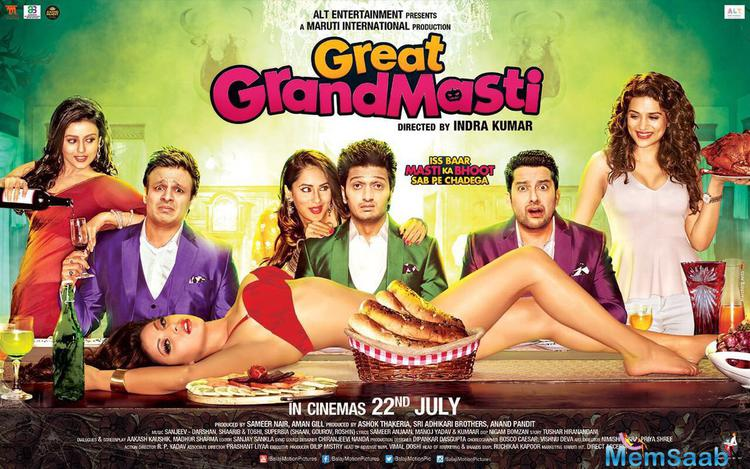 The first look of upcoming comedy Great Grand Masti starring Riteish Deshmukh, Vivek Oberoi and Aftab Shivdasani is finally out.