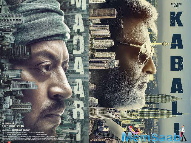 Both the posters see the faces of the lead actors, Irrfan Khan and Rajinikanth, with numerous buildings and skyscrapers standing horizontally on their looks.