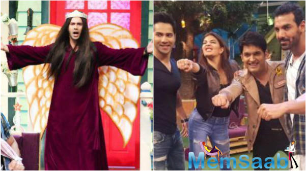 Karan Johar first shared a photo on Twitter, in which Varun is seen wearing a maroon gown and sporting long hair, Varun 's act as Taher Shah on The Kapil Sharma Show was the highlight of the evening.