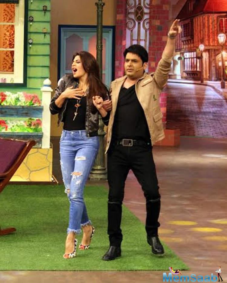The organizers of the comedy show have shared a number of photos from the shoot and looks like all the stars had a great time shooting for the show. Varun, John and Jacqueline were seen dancing and cracking jokes with the Kapil Sharma and his team.