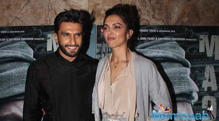 On Thursday, Ranveer and Deepika attended a special screening of Irrfan Khan's Madaari. When Deepika was asked about her rumoured engagement, Ranveer looked at her and said,