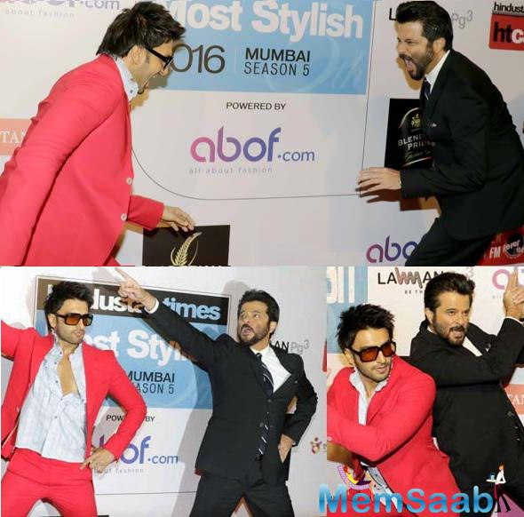 Ranveer even imitated Anil's expressions and mannerisms at the event and posed in the 24 look with Anil.