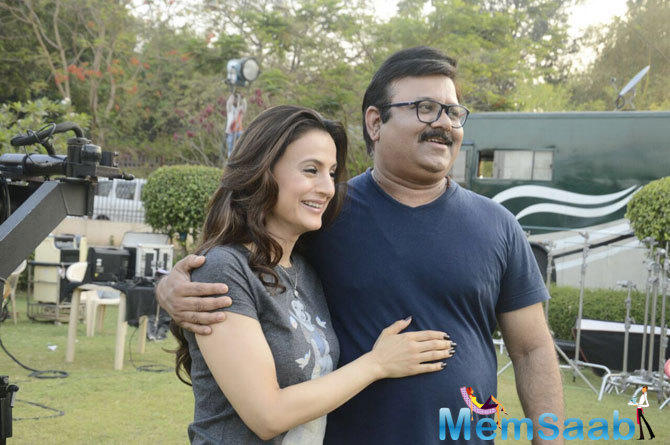 """Back on the sets of 'Bhaiyyaji Superhitt' Having a mad mad time with Amisha Patel, Sunny Deol and Neeraj Pathak. Madness, Mumbai… Shoot, loving it,"" Preity wrote."