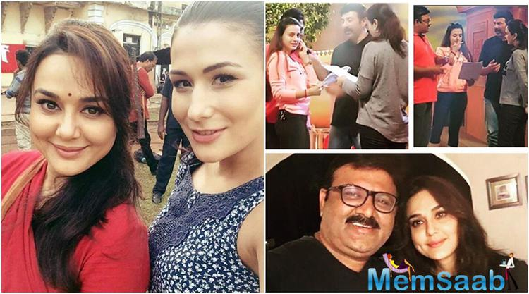 On Wednesday Preity shared some photographs of herself along with actors Ameesha Patel and Sunny Deol from the film's set on Facebook.