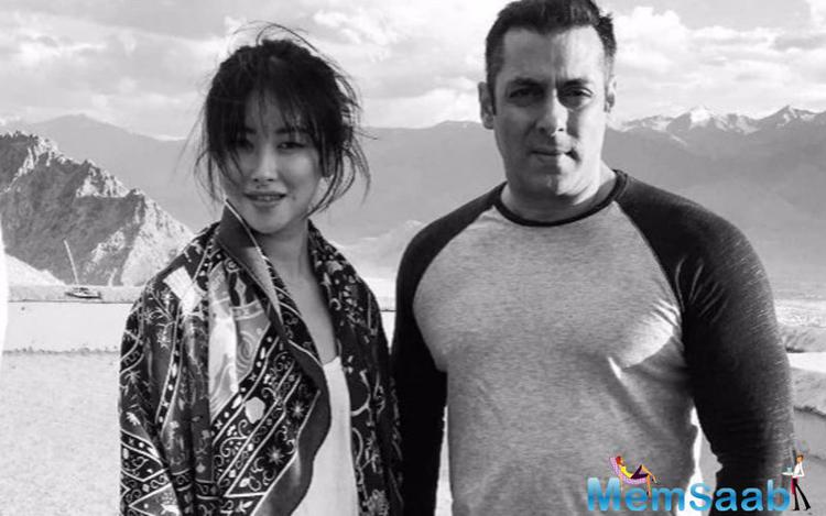 Not, the big suspense is that, Sallu will be seen romancing Chinese actress Zhu Zhu in the historical drama. She has already reached the location and met the actor.