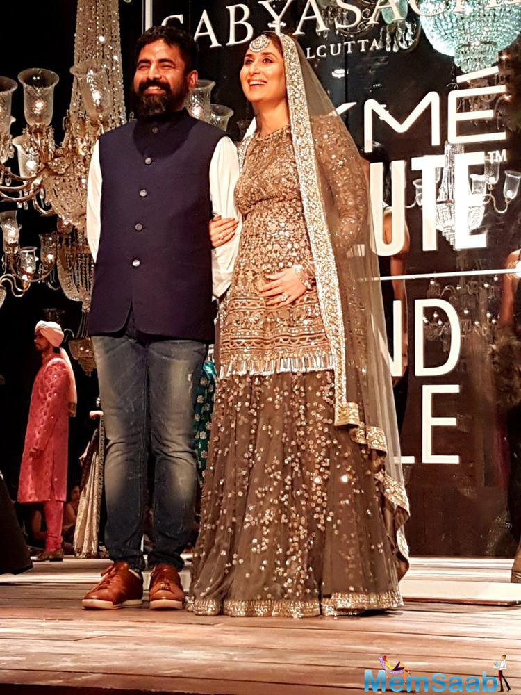 Kareena who is expecting her first child with Saif Ali Khan in December turned designer Sabyasachi's muse for his latest collection that brought the curtains down at the Lakme Fashion Week