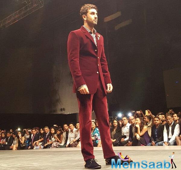 33-year-old Ranbir Kapoor, who looked dapper as a showstopper for designer Kunal Rawal at the Lakme Fashion Week 2016