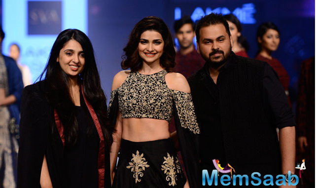 """Designer duo Sonam and Paras Modi of the label """"SVA"""", instilled a new life into the ancestral art of the French locality of Montparnasse with their new collection. Prachi has previously walked the ramp for them"""