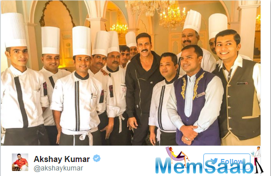 "Housefull 3 star Akshay also shared a picture alongside chefs who tended to the Punjabi glutton in him. Food to him is ""life's most genuine pleasure and tastiest necessity"""