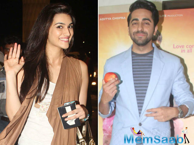 A new picture of the duo Kriti and Ayushmann found its way on the internet. In the picture, we see both of them completely engrossed in their work.