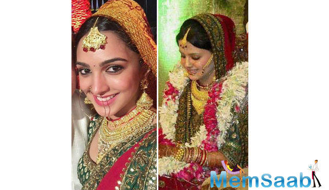 Kiara Advani, who plays Dhoni wife Sakshi in the biopic, seems to be recreating Sakshi's wedding outfit.