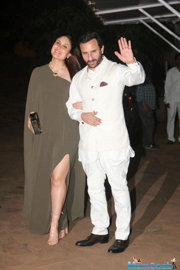 Kareena and Saif looked adorable as they walked hand-in-hand together in a regal style at the venue . Rima's son actor Armaan Jain is seen with Kareena and Saif