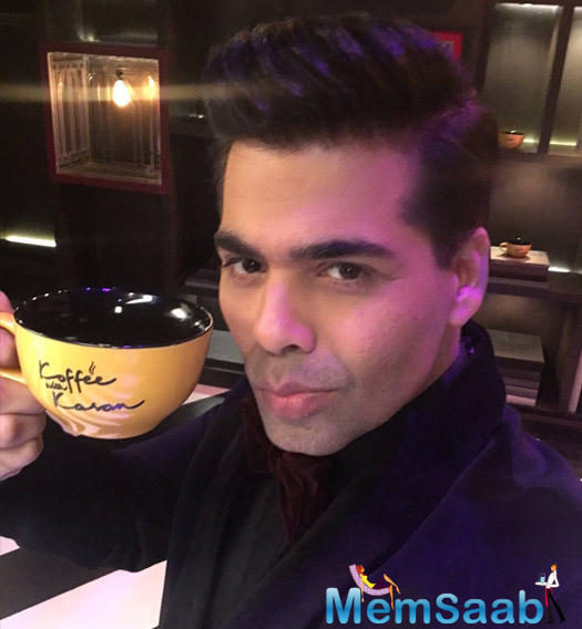 "Karan shared a pic on his Twitter account, where he is pictured with his 'koffee with Karan' mug and captioned it as ""Started the #koffeewithkaran shoot today…shot the promo! This Season…things are hotting up."""