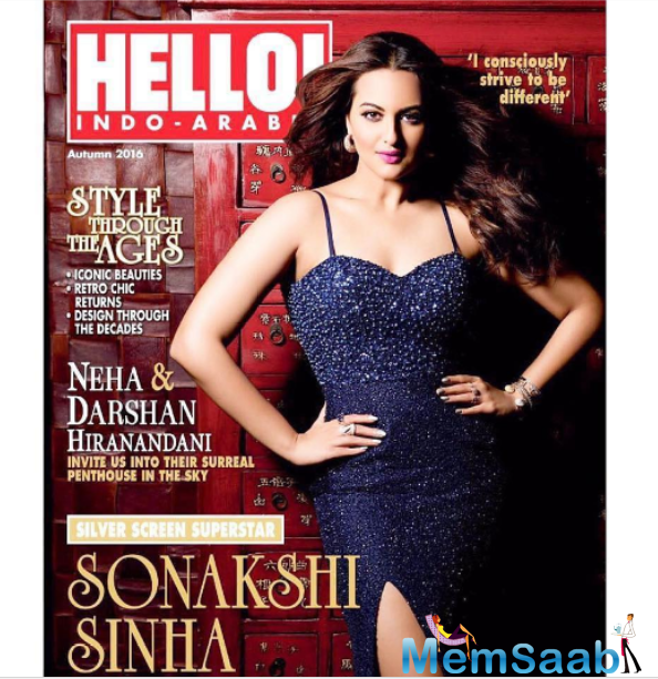 Silver screen Sonakshi Sinha is seen confident and dazzling as she poses for the cover shoot of Hello! Indo-Arabia magazine.
