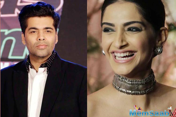 The beautiful actress Sonam Kapoor, who will next be heard on actress Neha Dhupia's audio talk show#NoFilterNeha, revealed that filmmaker Karan Johar comes up with fake laughs at parties.