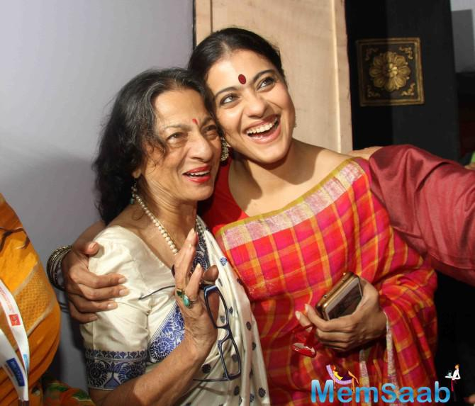 Kajol and mother Tanuja were seen celebrating Durga Puja in full swing, Kajol opted a red saree for the occasion.