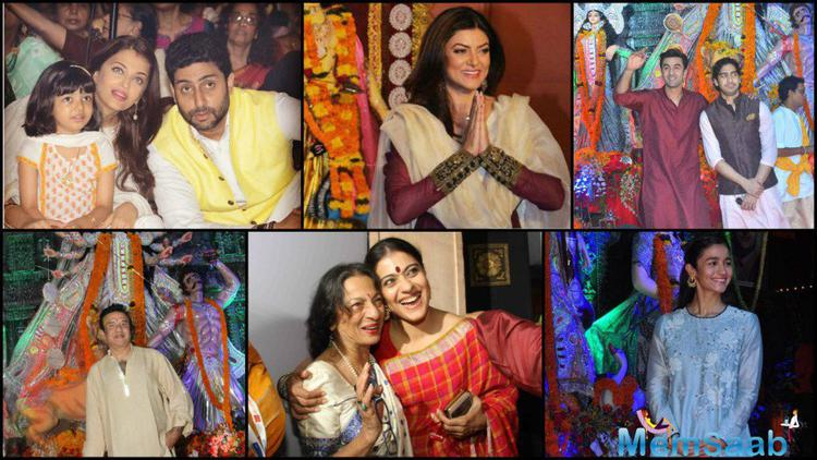Visit the delightful pic, where the Bollywood celebrity Seeks blessing from Durga, and our favorite stars dressed in traditional finery going about celebrating the festive time of year.