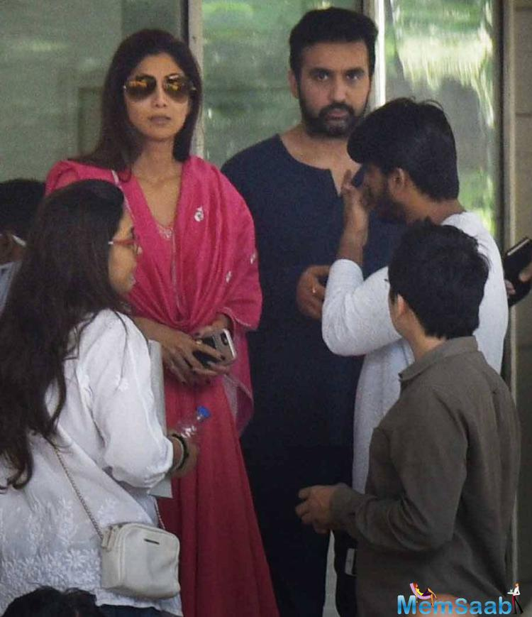Shilpa Shetty with her husband at Ambani hospital. We request your co-operation and support to respect the family's privacy at this crucial time,
