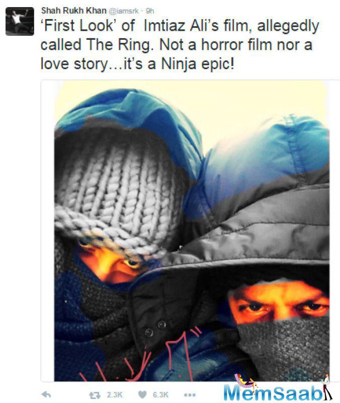 See this pic, he is putting on a hoodie and his face covered, and tweets, it was the 'first look' of 'The Ring' and that it was neither a horror film nor a romantic film but that it was a Ninja epic.