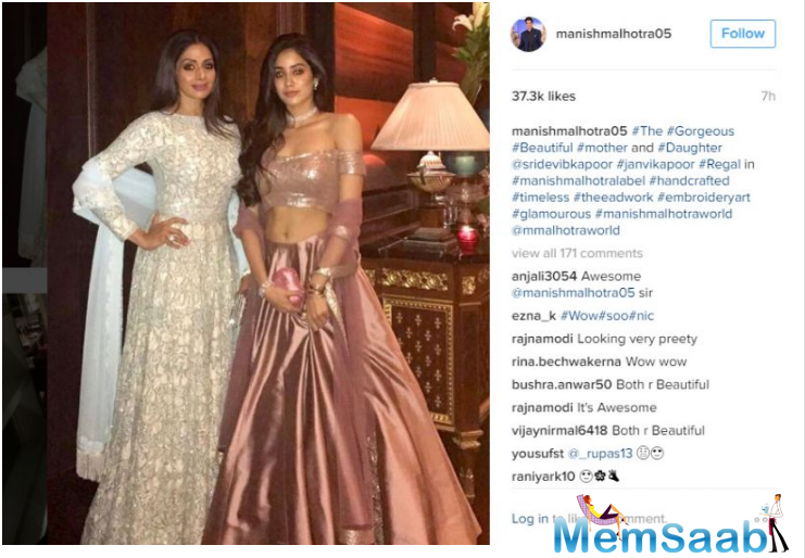 Jhanvi is often spotted accompanying her mother to various award functions and events.The fashion designer himself shared the picture of the two on his official Instagram account