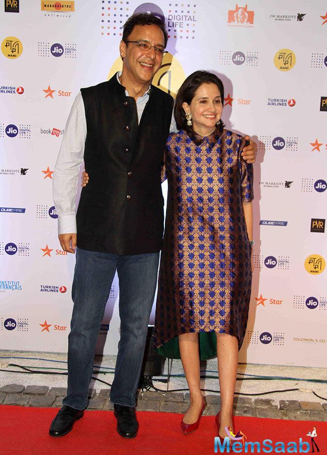 Vidhu Vinod Chopra accompanies wife Anupama Chopra, who is the director of MAMI.