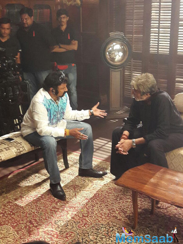 Balakrishna met up with the Megastar to thank him personally for getting alongside in his next film. Big B will play a brief role in the movie for which he has allotted a total of 17 days from his busy schedule.