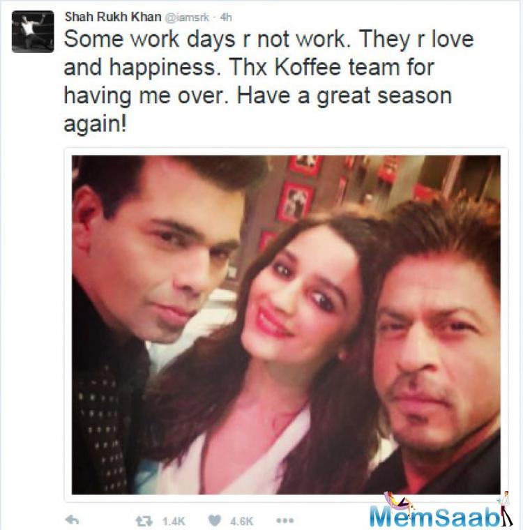 The trio already shot for the first episode,later SRK shared a selfie on Twitter