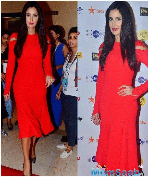 Lovely lady Katrina Kaif spotted at the MAMI Mumbai Film Festival in a Prabal Gurung crepe dress