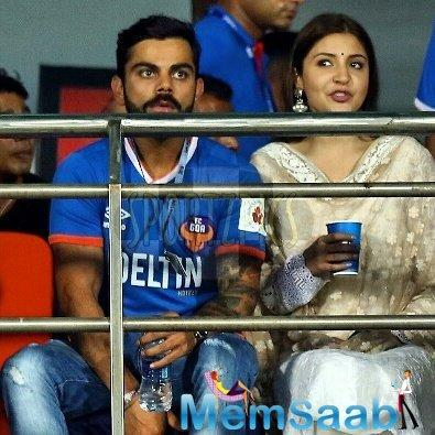The two appeared side by side each other at ISL match which was held in Goa. As always, the couple didn't shy away and were snapped sitting beside each other as they enjoyed the match.