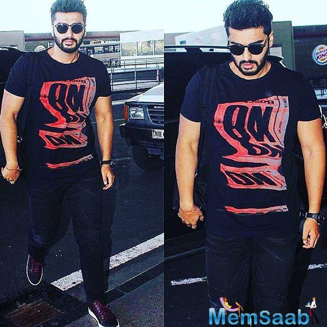 Arjun also shared his airport look while he was flying off to Chandigarh for the film's shoot.