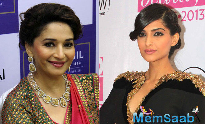 If sources to be believed, Sonam to play Bollywood's evergreen diva Madhuri Dixit's role in the film,  who was dating Dutt during the 80s and 90s.