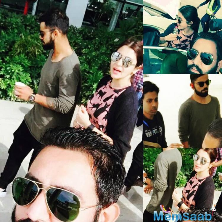 Being an adorable boyfriend, Virat apparently came to pick his girlfriend at the airport and that's when their fans tried to click them together.