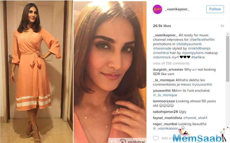 Vaani Kapoor is lucky enough to grab a lead role in Aditya Chopra Befikre .The 'Shudh Desi Romance' actress took to her Instagram and shared a picture with the caption