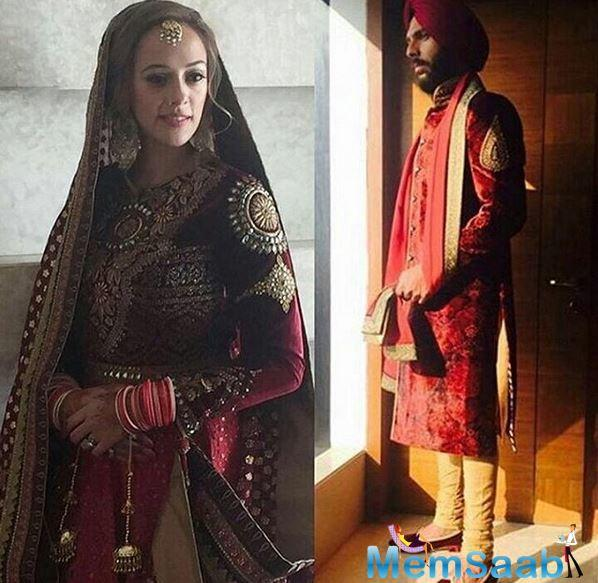 Hazel Keech wore a Indian attire (a maroon lehenga with shades of pink on sleeves) and looked stunning as usual.