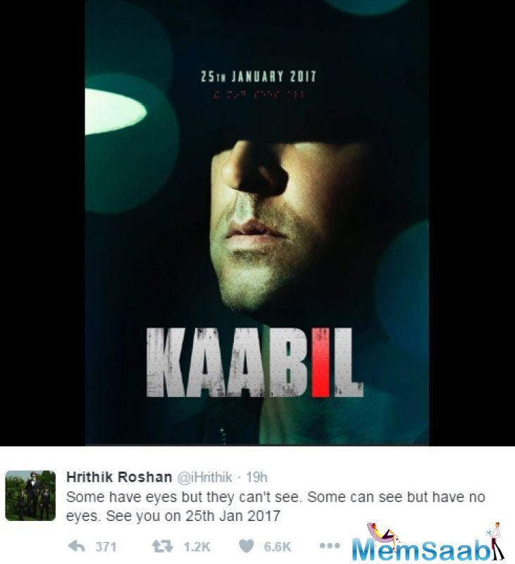 The 42-year-old is also utilizing social media to its full extent as he shares yet another gritty poster of the film. The Greek God Hrithik Roshan is planning to release his next flick 'Kaabil' on a grand scale.
