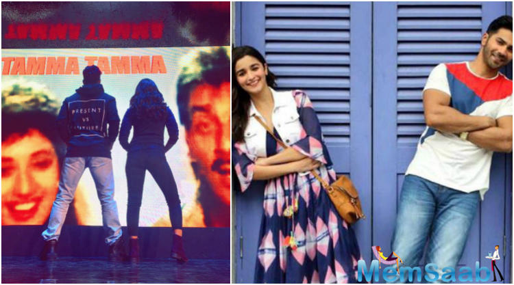In an image tweeted by one of the leading actresses of Bollywood  Alia, the actress along with Varun, is seen looking at a screen featuring Madhuri and Sanjay.