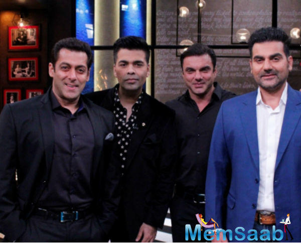 Recently, the Khan brothers- Salman, Arbaaz and Sohail shares couch on Koffee with Karan's 100th episode.