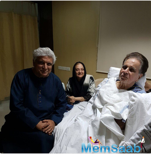 Actress Shabana Azmi, the wife of Akhtar, shares a photograph in which her husband is seen along with Dilip Kumar and his wife Saira Banu.