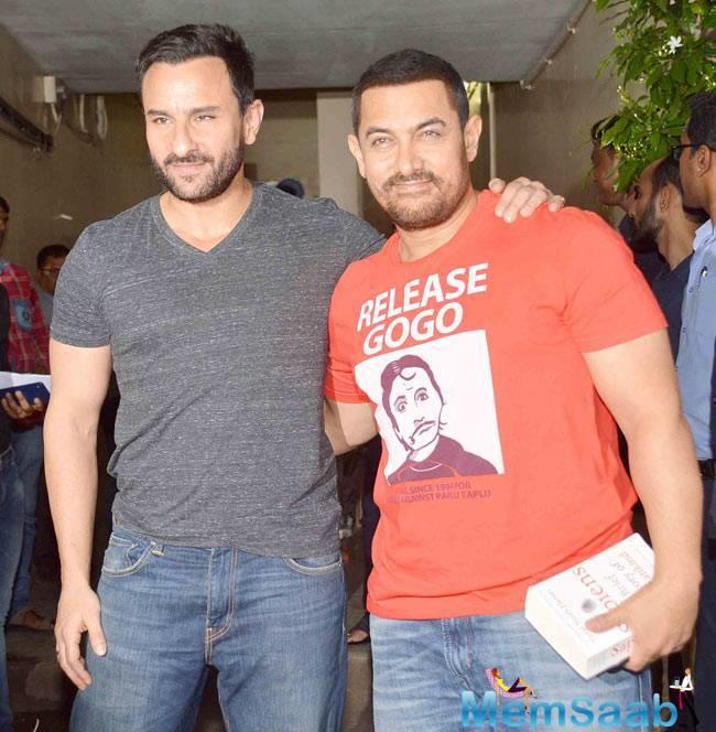 Saif Ali Khan saw Dangal yesterday at the PVR Cinema in Mumbai and he praised the movie and Aamir too.