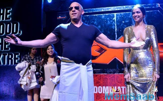 Hollywood star Vin Diesel and actress Deepika Padukone shook their legs on 'lungi dance' at the premiere of their film 'xXx: Return of Xander Cage'.