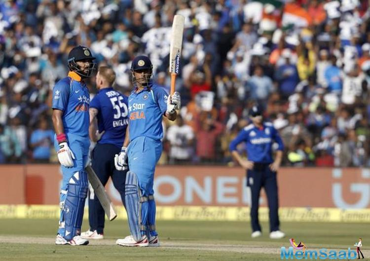 After, Shikhar Dhawan,Kohli and KL Rahul, Yuvraj and Dhoni are superbly  scoring in Cuttack stadium, the partnership is now earning 234 (210).