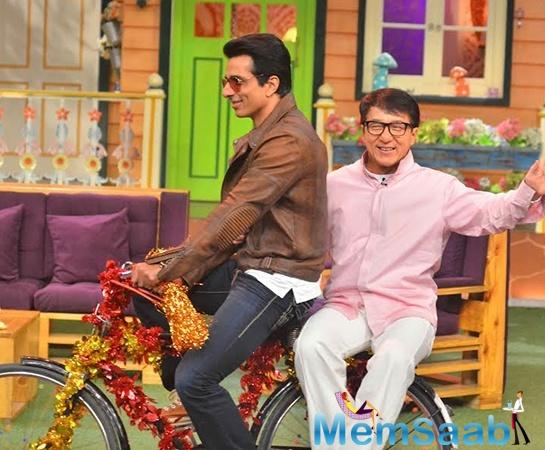 Sonu was on the rider's seat and Jackie on pillion. In between the entertainment, Kapil Sharma took a moment to auction the cycle for a charity.""