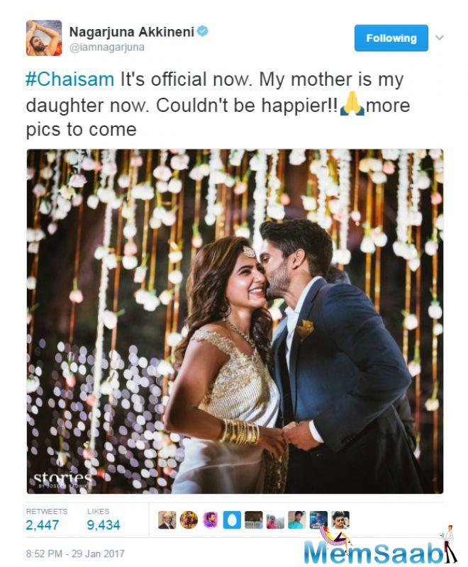 Akhil himself could scarcely hold his joy, taking to Twitter to wish the duo.
