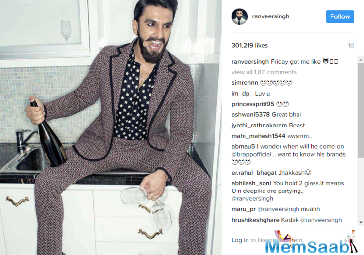 The actor Ranveer is apparently not in the 'all work and no play' mode as he recently shared a picture on his social networking handle and wrote