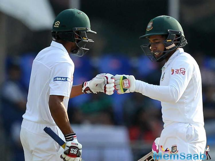 Mushfiqur Rahim (81 not out), Shakib Al Hasan (82) and Mehedi Hasan (51 not out) scored fighting half-centuries on day three of the one-off Test here on Saturday.