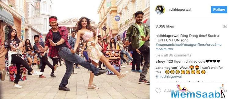 Nidhhi recently on her Instagram account posted a still of a song from the film, and we must say that Tiger and Nidhhi make a refreshing pair.