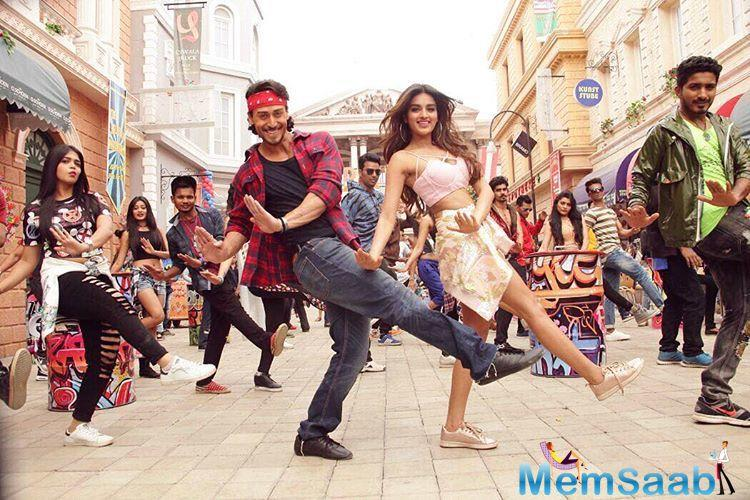 Titled Ding Dang, the song features Tiger and debutante Nidhhi Agerwal. It is choreographed by Ganesh Acharya.