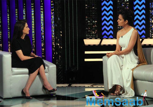 During the conversation, Kangana said, unlike her other films, she had to look beautiful in 'Rangoon,' who two men fall in love with. Hence it was refreshing for her.