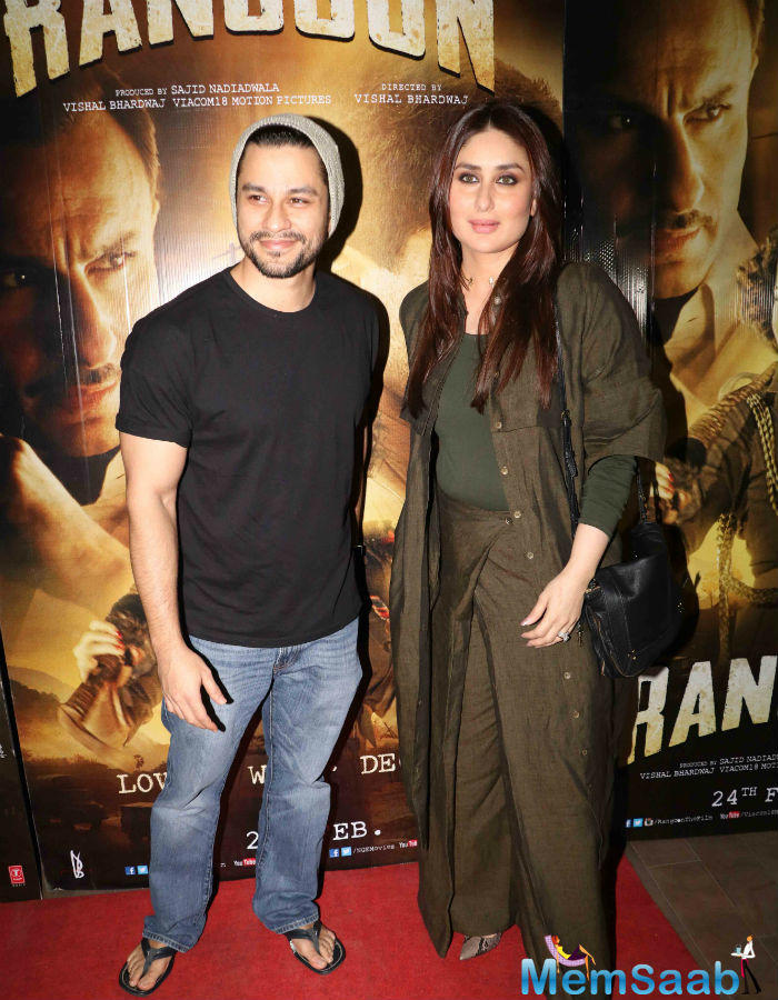Kareena was accompanied to the screening by actor Kunal Khemu, who is married to Saif's sister Soha Ali Khan.